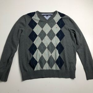 Tommy Hilfiger Gray Cotton Sweater Mens Large